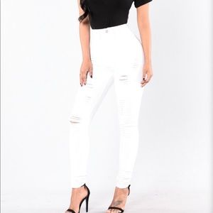 White Fashion Nova Hit The Freeway Jeans